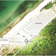 Naturhuset indsat på luftfoto af Tisvildeleje Strandparkering