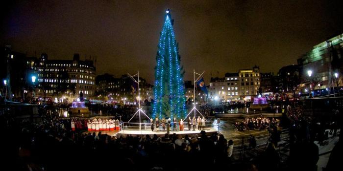 Juletræet på Trafalgar Square tændtes 3 December og står til 3. Januar